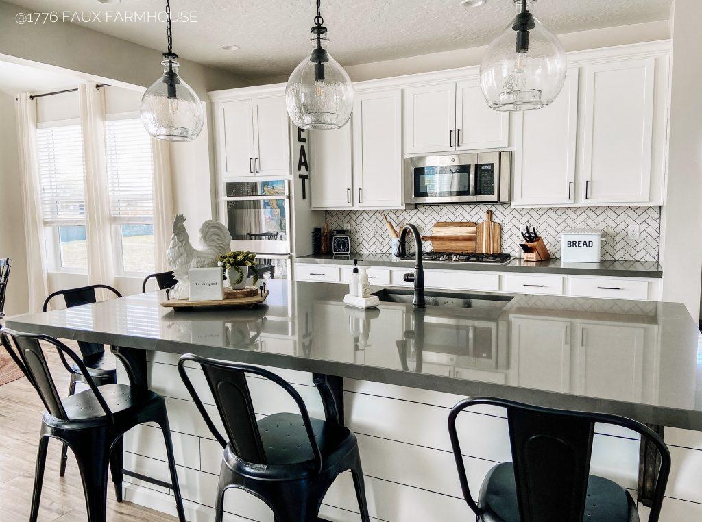 Herringbone DIY Kitchen Backsplash